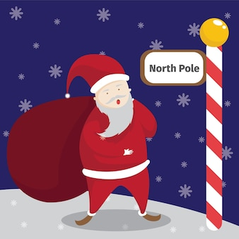 Merry christmas greeting card with santa clause in the snow