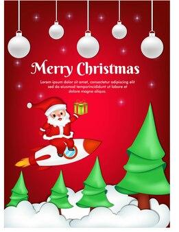 산타 클로스와 함께 메리 크리스마스 인사말 카드