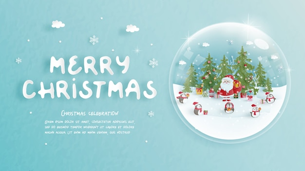 Merry christmas greeting card with santa in paper cut style.