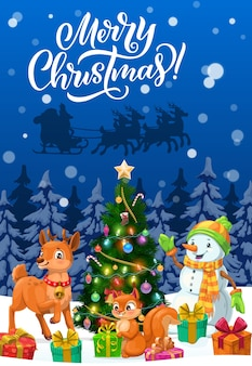 Merry christmas greeting card with santa xmas sleigh, snowman and animals. christmas tree, gifts and reindeer, present boxes, snow and stars, sock, candies and balls, lights and squirrel