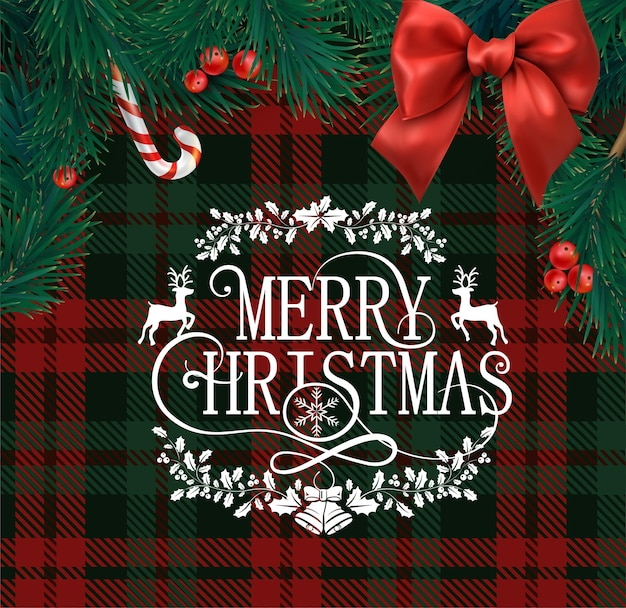 Merry christmas greeting card with scottish red and green checkered pattern fir branches holly berries and satin bow
