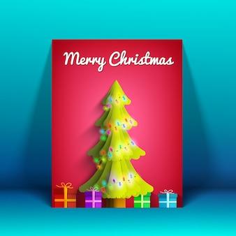 光沢のあるモミの木のライトガーランドとカラフルなプレゼントが付いたメリークリスマスグリーティングカード
