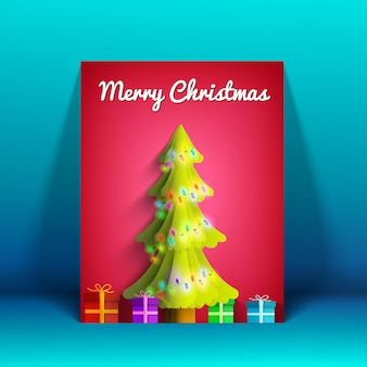 Merry christmas greeting card with shiny fir tree light garland and colorful presents