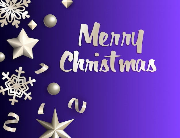 Merry christmas greeting card with silver decoration