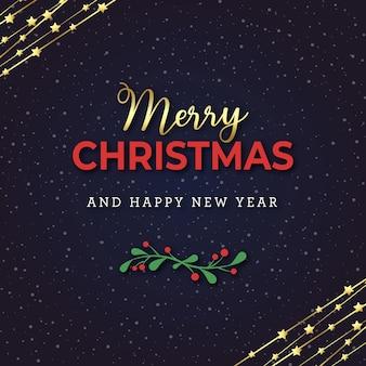 雪と金色の装飾的な星とメリークリスマスのグリーティングカード