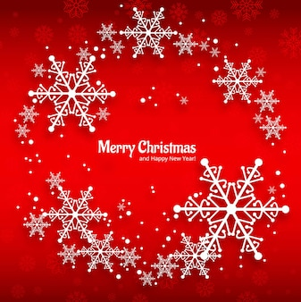 Merry christmas greeting card with snowflakes red background
