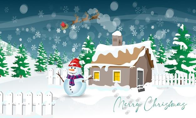 雪だるまとサンタクロースのメリークリスマスグリーティングカード