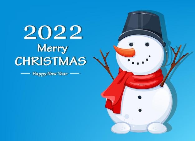 С рождеством христовым открытка со снеговиком. забавный мультипликационный персонаж снеговика. может использоваться для поздравительных открыток, плакатов, листовок и т. д. складе векторные иллюстрации