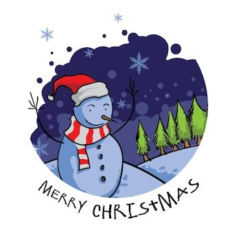 눈사람 일러스트와 함께 메리 크리스마스 인사말 카드