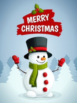 Merry christmas greeting card with snowman illustration