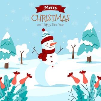 雪だるまとメリークリスマスのグリーティングカード