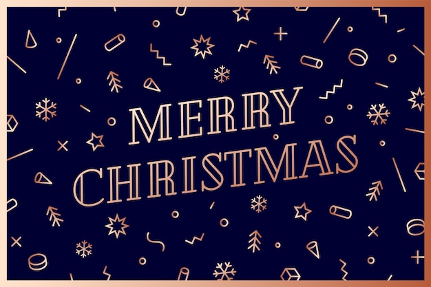 Merry christmas. greeting card with text merry christmas.. geometric memphis bright golden style for happy new year or merry christmas. holiday background, greeting card.
