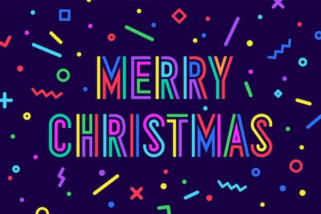 메리 크리스마스. 메리 크리스마스라는 텍스트가 있는 인사말 카드. 새해 복 많이 받으세요 또는 메리 크리스마스를 위한 멤피스 기하학적 밝은 황금색 스타일. 휴일 배경, 인사말 카드입니다. 벡터 일러스트 레이 션