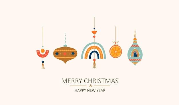 스칸디나비아 스타일의 장난감이 있는 메리 크리스마스 인사말 카드. 손으로 그린 크리스마스 싸구려. 크리스마스는 아늑한 장식 요소를 격리했습니다. 초대, 소원, 디자인에 대 한 템플릿입니다. 벡터 일러스트 레이 션.