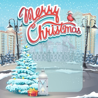 Merry christmas greeting card with tree on the city