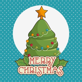 Merry christmas greeting card with tree