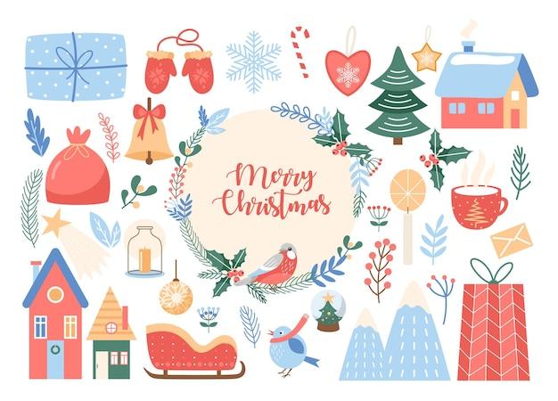 花輪が付いているメリークリスマスのグリーティングカードはクリスマスツリーのためのハートの星のボールの装飾を収容します