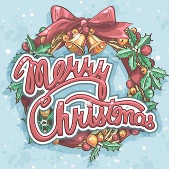 花輪とメリークリスマスのグリーティングカード