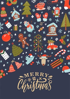 Merry christmas greeting card with xmas decoration and characters pattern with lettering.