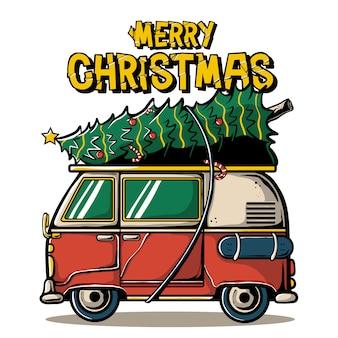 Merry christmas greeting card Premium Vector