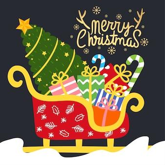 メリークリスマスグリーティングカード Premiumベクター