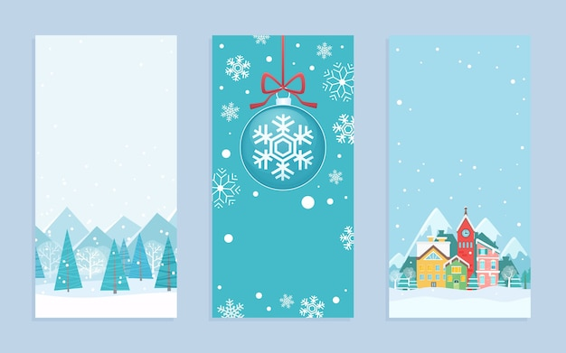 Merry christmas greeting cards in cartoon scandinavian style