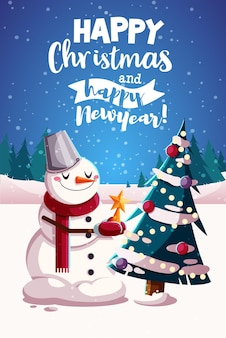 С рождеством христовым дизайн поздравительных открыток. векторная иллюстрация