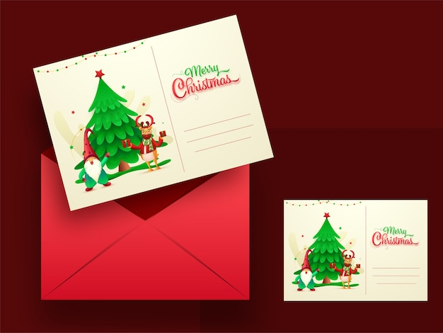 Merry christmas greeting cards or invitation with red envelope illustration.