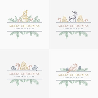 Merry christmas greeting cards or labels set.