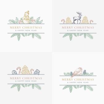 メリークリスマスのグリーティングカードまたはラベルセット。