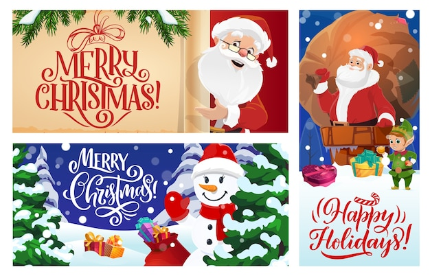 Merry christmas greeting cards or posters set