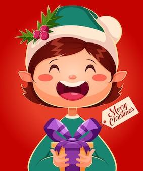 Merry christmas greeting cards retro design. christmas elf holding gift box. vector illustration
