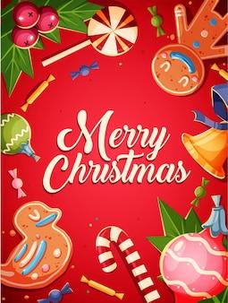 メリークリスマスのグリーティングカードのレトロなデザイン。図