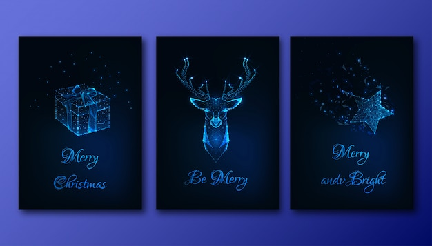 Merry christmas greeting cards set with futuristic glowing elements