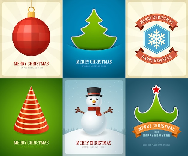 Merry christmas greeting cards templates