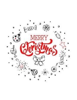 素敵なクリスマスのシンボルとレタリングが付いたメリークリスマスのグリーティングカードはスケッチスタイルで作られています