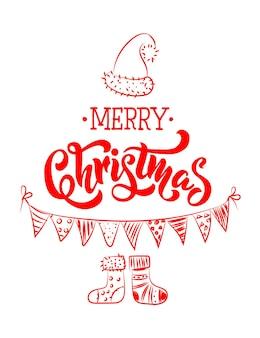 素敵なクリスマスツリーソックスキャップフラグとレタリングが付いたメリークリスマスグリーティングカードが作られています
