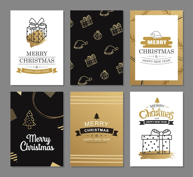 Merry christmas greeting cards with gold luxury decoration templates set of holiday posters tag banner postcard design