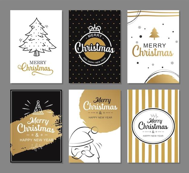 С рождеством христовым поздравительные открытки с золотыми роскошными шаблонами украшения набор праздничных плакатов тег баннер дизайн открытки