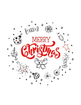 Merry christmas greeting cards with a nice christmas symbols and lettering are made in sketch style