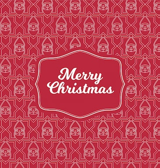 Merry christmas greeting design - thin line pattern on red background