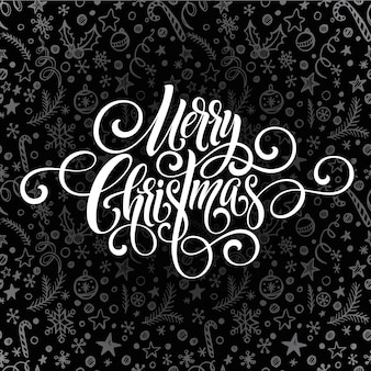 Merry christmas greeting handwriting script lettering, greeting card