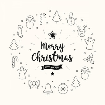Веселые рождественские приветствия значки элементы круг фон