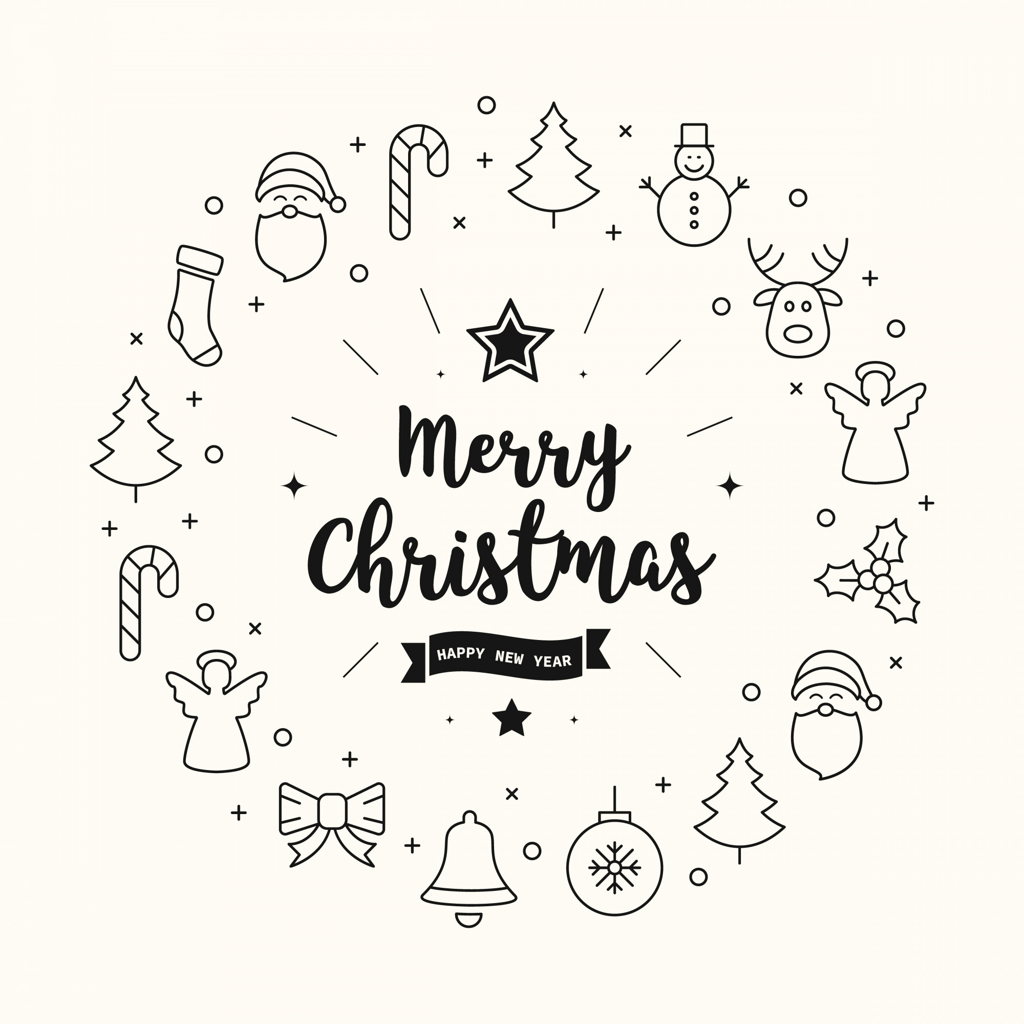 Merry christmas greeting icons elements circle background