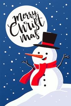 Поздравление с рождеством христовым. пейзаж с иллюстрацией снеговика.