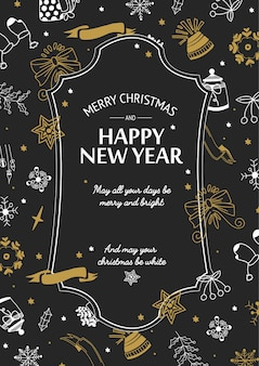 Merry christmas greeting poster with text in elegant frame and hand drawn festive traditional symbols vector illustration