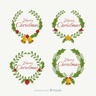 Merry christmas greeting text branch wreath circle