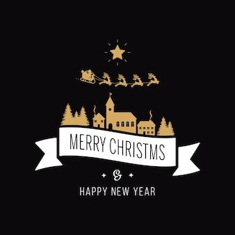 메리 크리스마스 인사말 텍스트 골드 산타 썰매 풍경 검은 배경