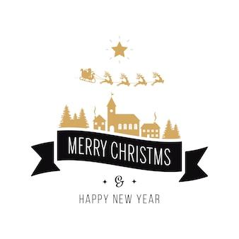메리 크리스마스 인사말 텍스트 골드 산타 썰매 풍경 흰색 배경