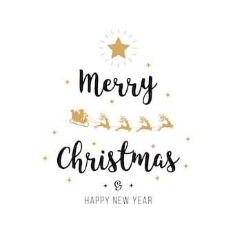 Веселый рождественский приветствие текст золото санта санях белый фон